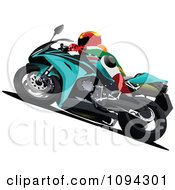 Clipart Person Riding A Motorcycle 5 Royalty Free Vector Illustration by leonid