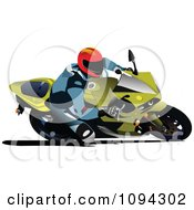 Clipart Person Riding A Motorcycle 6 Royalty Free Vector Illustration by leonid