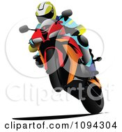 Clipart Person Riding A Motorcycle 8 Royalty Free Vector Illustration by leonid