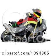 Clipart Person Riding A Motorcycle 4 Royalty Free Vector Illustration by leonid