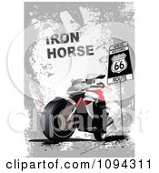 Clipart Person Riding A Motorcycle By A Stop Sign With Iron Horse Text And A Route 66 Sign Royalty Free Vector Illustration by leonid