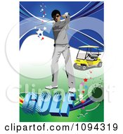 Clipart Swinging Golfer With A Cart Over Text With Stars And Grunge Royalty Free Vector Illustration by leonid