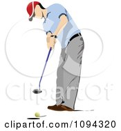Clipart Faceless Male Golfer 3 Royalty Free Vector Illustration by leonid