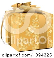 Clipart 3d Gold Floral Gift Box And Bow Royalty Free Vector Illustration