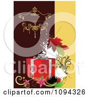 Clipart Gift Box With Flowers Grunge And Leaves On An Ornate Background Royalty Free Vector Illustration by leonid
