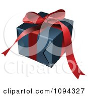 Clipart 3d Blue Gift Box And RedBow Royalty Free Vector Illustration by leonid