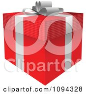 Clipart 3d Red Gift Box And SilverBow Royalty Free Vector Illustration by leonid