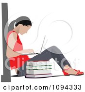 Clipart School Girl Using A Laptop Computer 1 Royalty Free Vector Illustration