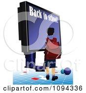 Clipart School Boy Walking Toward A Computer Screen Royalty Free Vector Illustration by leonid