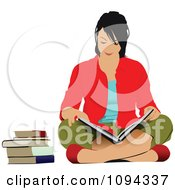 Clipart School Girl Sitting On The Floor And Reading 1 Royalty Free Vector Illustration by leonid
