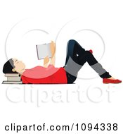 Clipart School Girl Laying On The Floor And Reading Royalty Free Vector Illustration by leonid