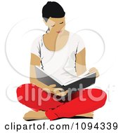 Clipart School Girl Sitting On The Floor And Reading 2 Royalty Free Vector Illustration by leonid