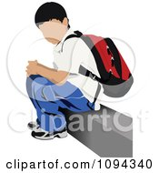 Clipart School Boy Waiting At A Bus Stop 3 Royalty Free Vector Illustration by leonid