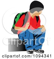 Clipart School Boy Waiting At A Bus Stop 2 Royalty Free Vector Illustration by leonid