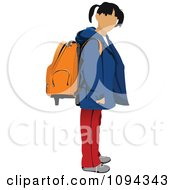 Clipart School Girl Standing With A Backpack 1 Royalty Free Vector Illustration by leonid