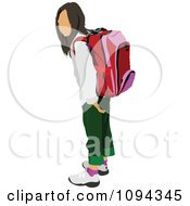 Clipart School Girl Standing With A Backpack 2 Royalty Free Vector Illustration by leonid