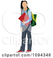 Clipart School Girl Standing With A Book And Backpack Royalty Free Vector Illustration by leonid