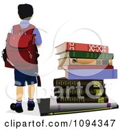 Clipart School Boy Standing By Books Royalty Free Vector Illustration by leonid