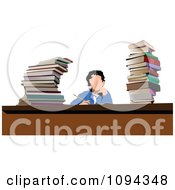 Clipart School Boy With Stacks Of Books At A Desk Royalty Free Vector Illustration