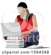 Clipart School Girl Using A Laptop Computer 2 Royalty Free Vector Illustration by leonid