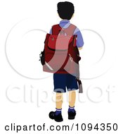 Clipart School Boy From Behind Royalty Free Vector Illustration by leonid