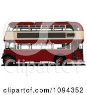 Clipart Dark Red Double Decker Bus Royalty Free Vector Illustration by leonid