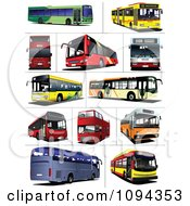 Clipart Public Transport And Double Decker Buses Royalty Free Vector Illustration by leonid