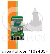 Clipart Green Double Decker With Silhouetted London Architecture 2 Royalty Free Vector Illustration