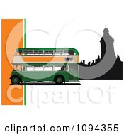 Clipart Green Double Decker With Silhouetted London Architecture 1 Royalty Free Vector Illustration