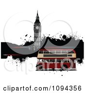 Clipart Double Decker Bus With Londons Big Bien And Grunge Royalty Free Vector Illustration by leonid