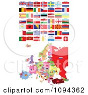 Clipart Flags And European Map Royalty Free Vector Illustration by leonid