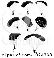 Clipart Silhouetted Parachuters Royalty Free Vector Illustration