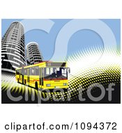 Clipart Yellow City Bus And Skyscrapers On Waves And Halftone Royalty Free Vector Illustration by leonid