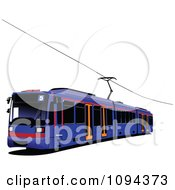 Clipart Blue Public Transport Tram Royalty Free Vector Illustration by leonid