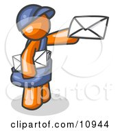 Orange Mail Man Delivering A Letter Clipart Illustration by Leo Blanchette