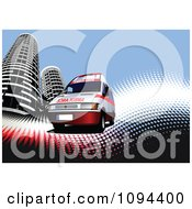 Clipart Medical Ambulance With Skyscrapers On Waves And Halftone Royalty Free Vector Illustration by leonid