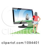 Clipart Woman Standing With Stairs Leading To A Ship Vacation On A Computer Screen Royalty Free Vector Illustration