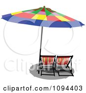 Clipart Colorful Beach Umbrella Casting Shade On Chairs Royalty Free Vector Illustration