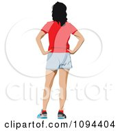 Clipart Standing Woman From Behind Royalty Free Vector Illustration