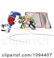 Clipart Hockey Player And Goalie Royalty Free Vector Illustration by leonid