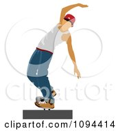 Clipart Teenage Skateboarder Trying To Maintain Balance Royalty Free Vector Illustration