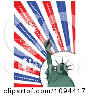 Clipart Statue Of Liberty And Grungy American Rays Royalty Free Vector Illustration