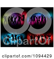 Clipart Silhouetted Dance Teams Over Colorful Blue And Red Backgrounds Royalty Free Vector Illustration