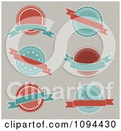 Clipart Retro Turquoise And Red Badges With Banners Royalty Free Vector Illustration