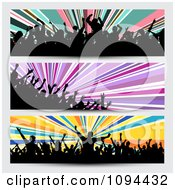 Clipart Three Silhouetted Party Crowd Website Banners Royalty Free Vector Illustration
