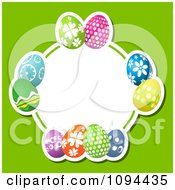 Clipart Colorful Easter Eggs Forming A Circular Frame Over Green Royalty Free Vector Illustration