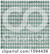 Clipart Worn Grungy Green And White Argyle Pattern Royalty Free Vector Illustration