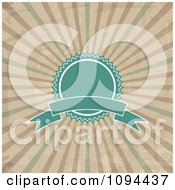 Clipart Vintage Turquoise Label Badge And Banner Over Grungy Rays Royalty Free Vector Illustration