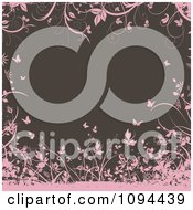 Clipart Pink Floral Grunge And Butterflies Framing Brown Royalty Free Vector Illustration by KJ Pargeter