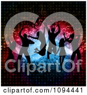 Clipart Silhouetted Dance Team Jumping Over Splatters Notes And Halftone Royalty Free Vector Illustration